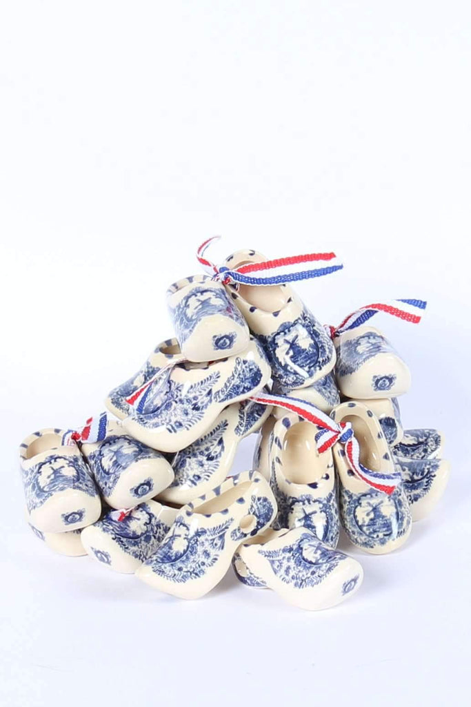 Mini Clogs, Delft Blue Ceramics, 10 pairs, 4 Cm / 1,6 Inch