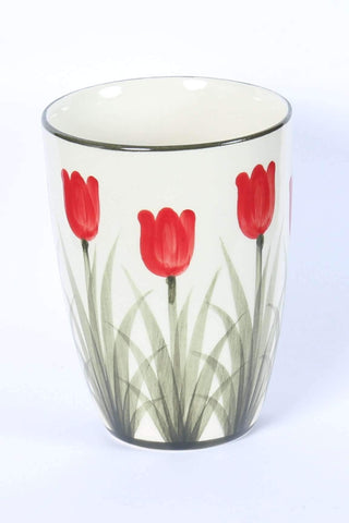 Vase with Red Tulips 16 Cm / 6.3 Inch