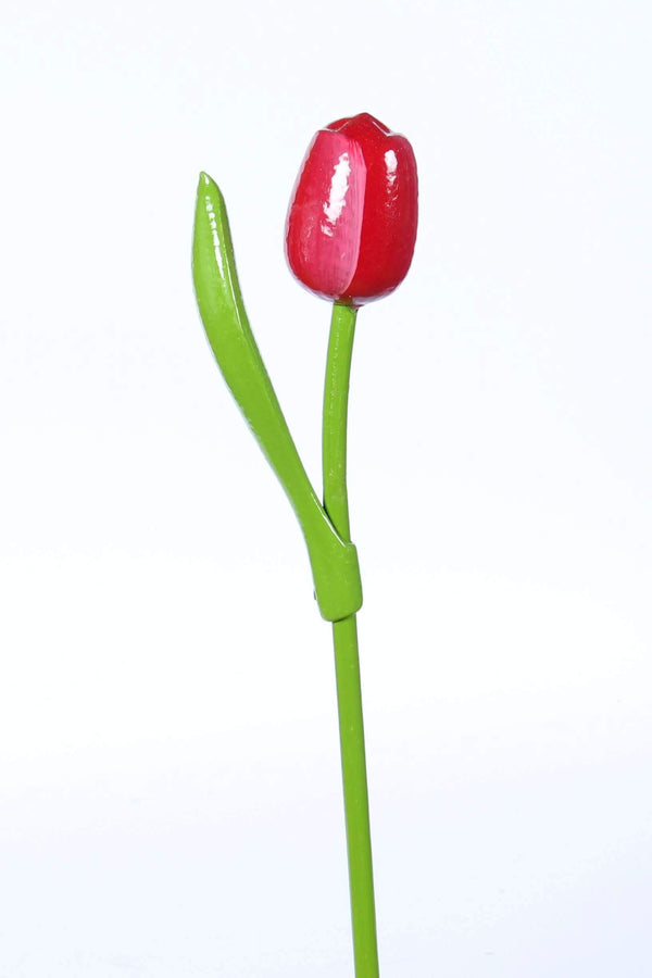 Wooden Tulip, Red White - Woodenshoefactory Marken