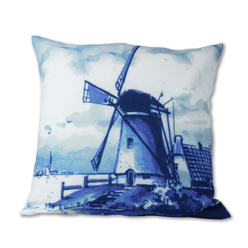 Delft Blue Cushion Cover with a Windmill