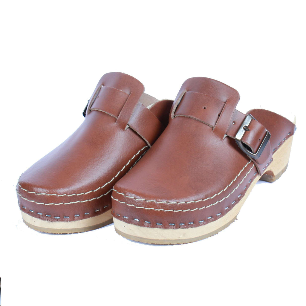 Leather Clogs Brown with Buckle, Orthepedic Footwear