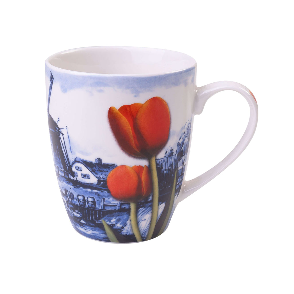 Delft Blue Mug, Dutch landscape with a Windmill and Tulips.