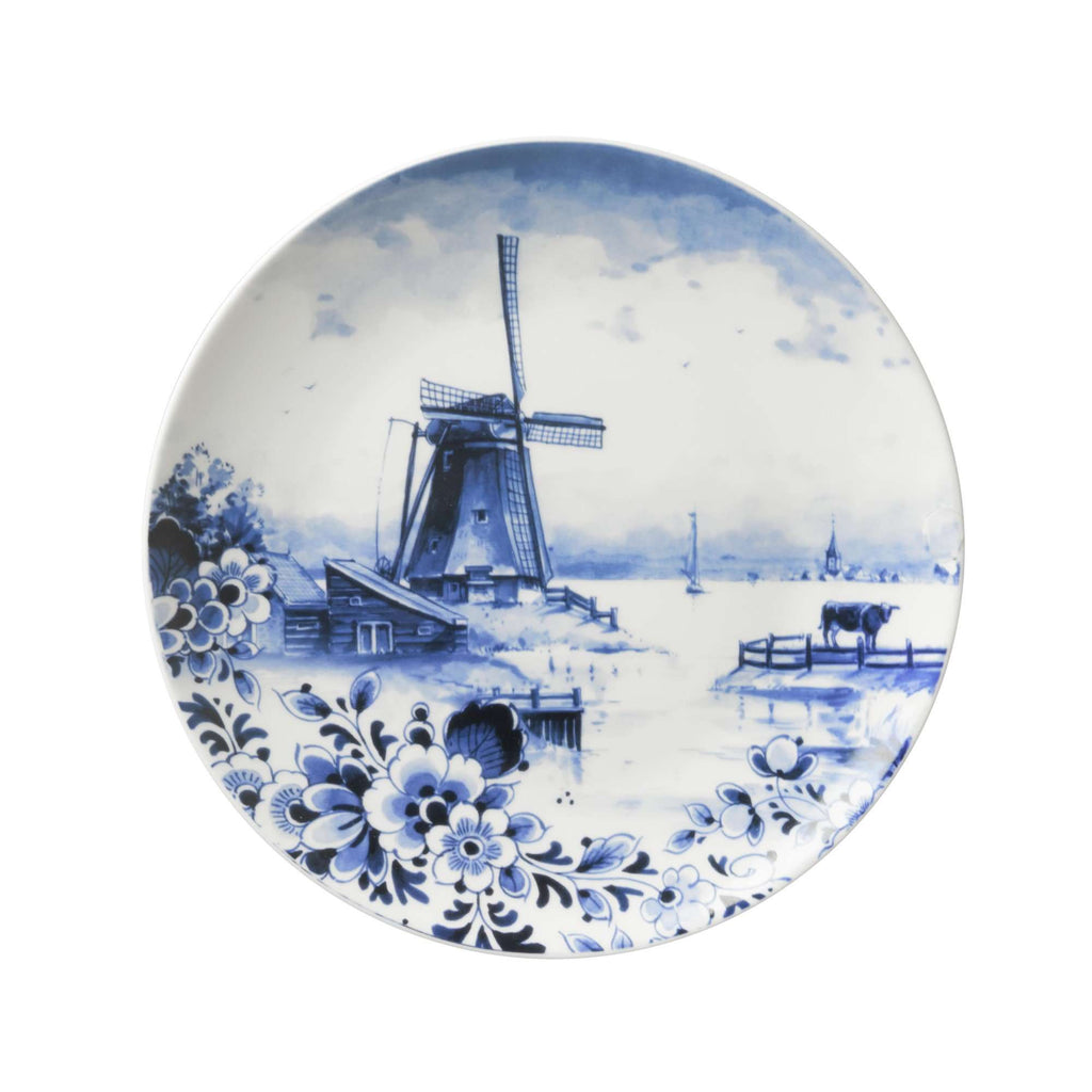 Wall Plate of a Landscape with Flowers and a Windmill