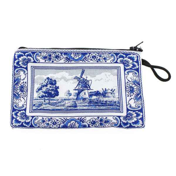 Delft Blue, Woven Bag with a Windmill, Medium
