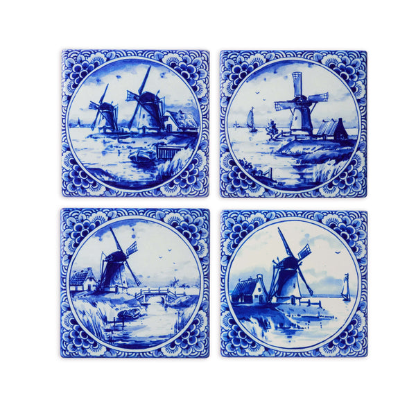 Delft Blue Ceramic Coasters with 4 Images of Windmills