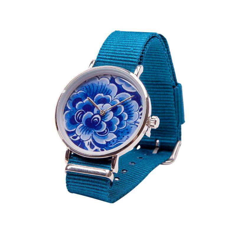 Delft Blue Watch with a Flower on the Dial