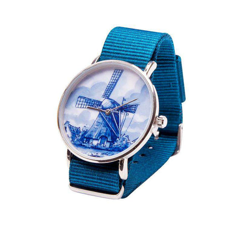 Delft Blue Watch with a Windmill on the Dial