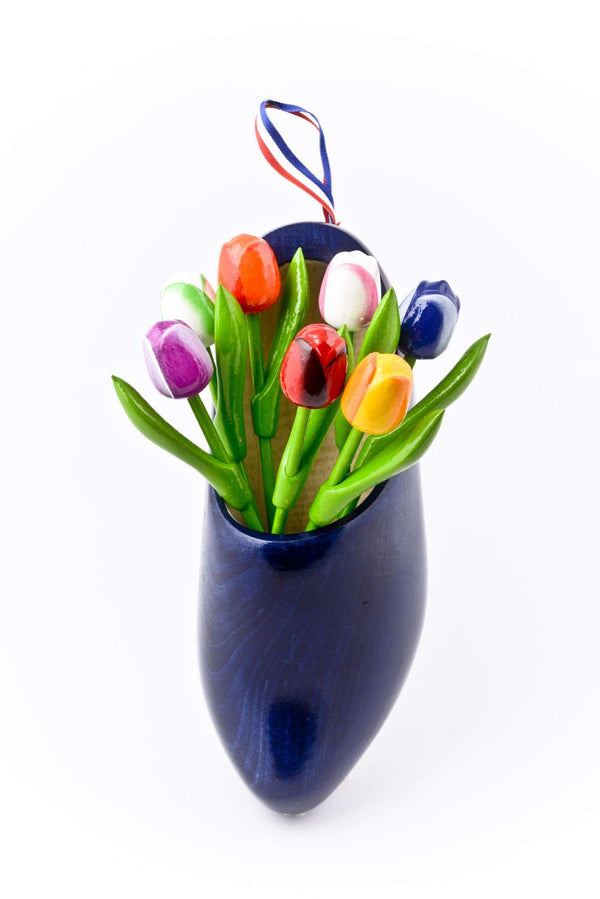 Wooden Shoe with Tulips, Denim