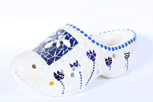 Blue White Mosaic Artist Clog, Hand made