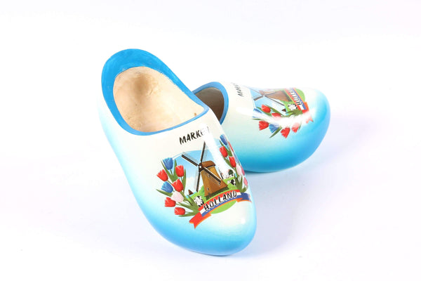 Wooden Shoes Marken Blue White