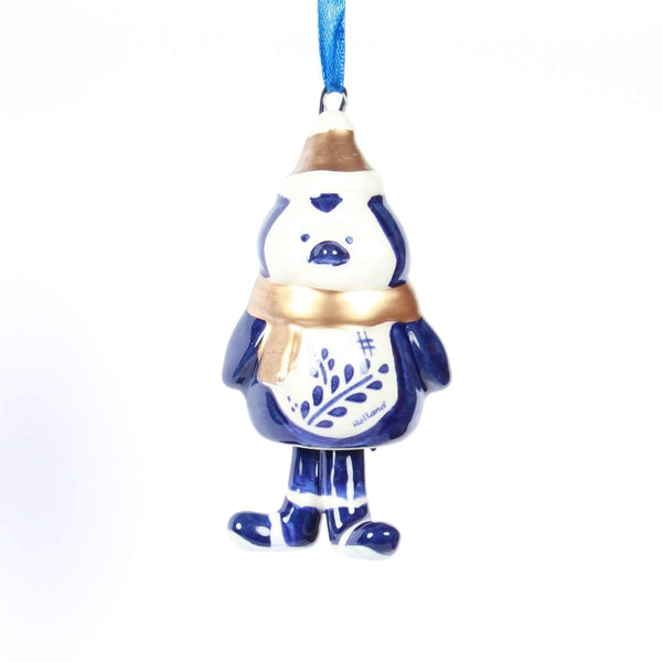 Christmas Ornament, Delft Blue, Penguin with Bell-Style Legs