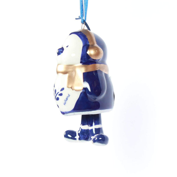 Christmas Ornament, Delft Blue, Penguin Bell-Style Legs 1
