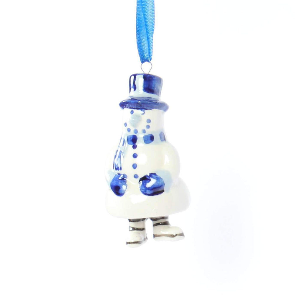 Christmas Ornament, Delft Blue, Snowman Bell-Style Legs