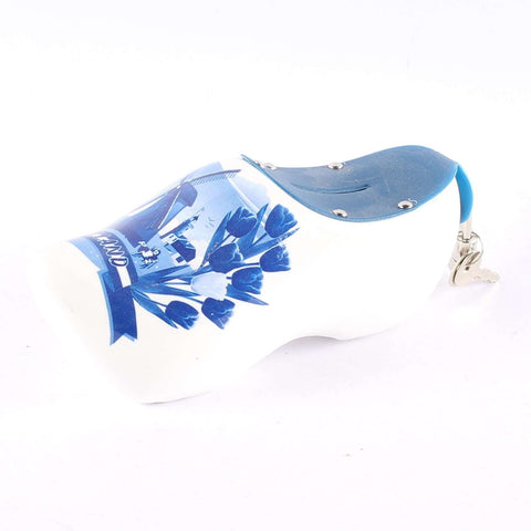 Wooden Shoe Money Box, Delft Blue