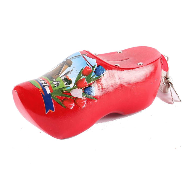 Wooden Shoe Money Box, Red
