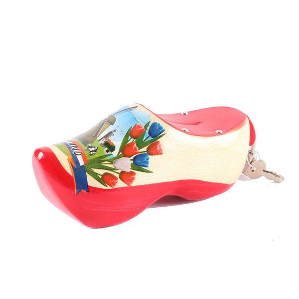 Wooden Shoe Money Box, Red Sole
