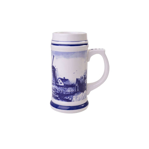Delft Blue Beer Mug with a Typical Dutch Landscape, Small