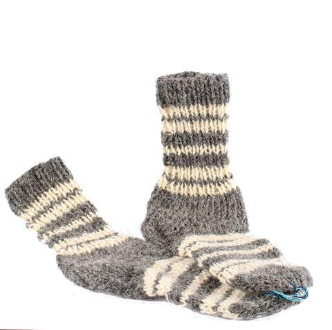 Handknitted Wool Socks, Grey
