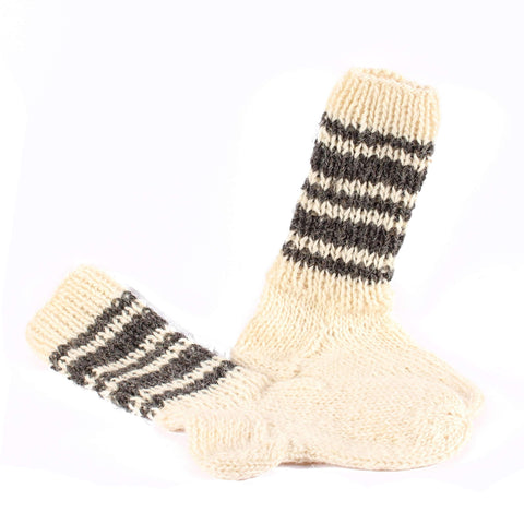 Handknitted Wool Socks, White
