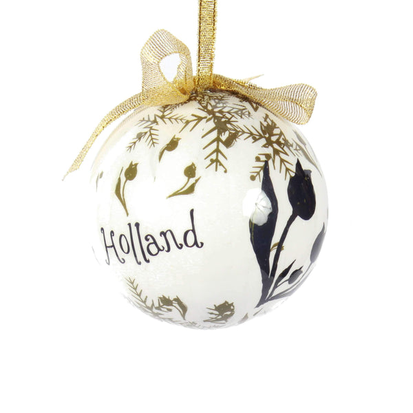 Holland Christmas Ornament, Big Ball With Tulips