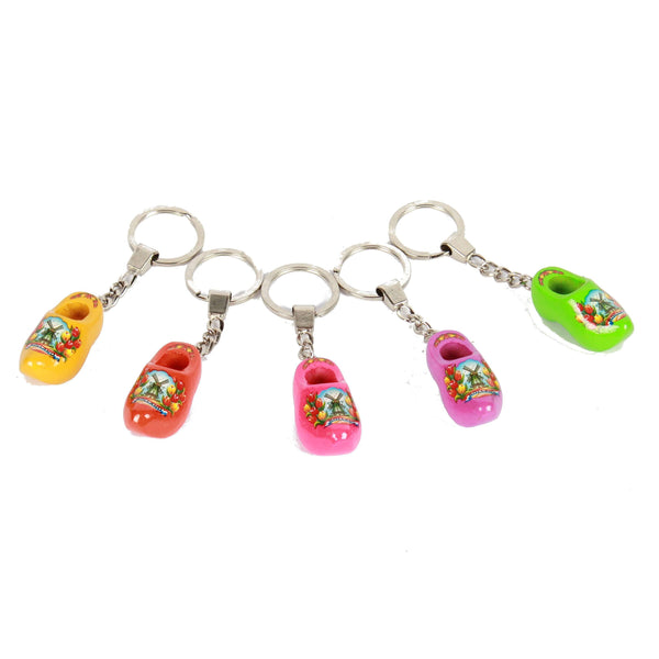 Wooden Shoe Keychains, yellow orange pink purple green