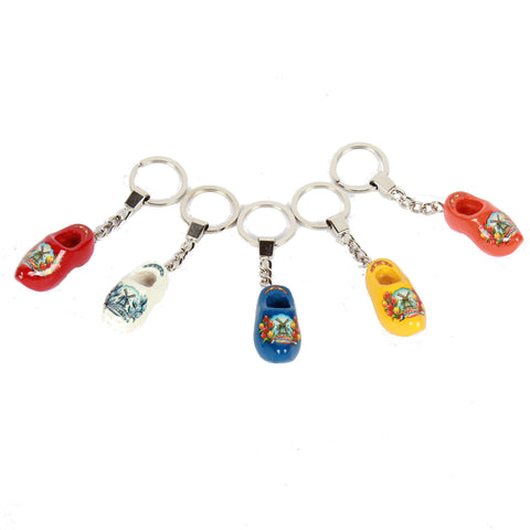 Wooden Shoe Keychains, red white blue yellow orange