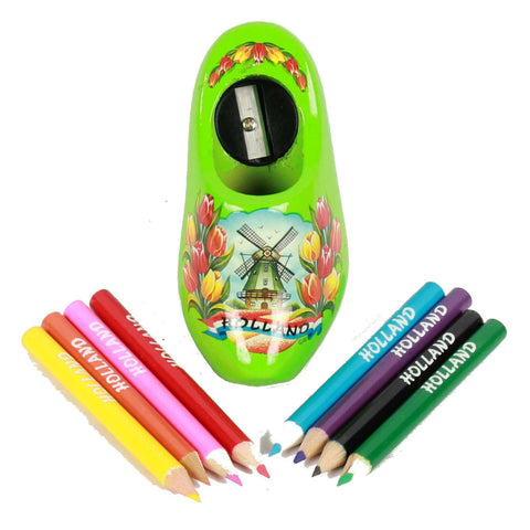 Wooden Shoe Pencil Sharpener with Colored Pencils, Green