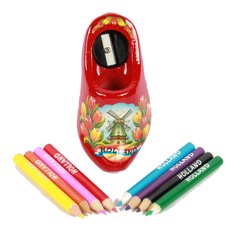 Wooden Shoe Pencil Sharpener with Colored Pencils, Red