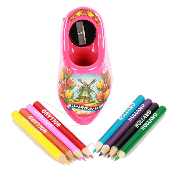 Wooden Shoe Pencil Sharpener with Colored Pencils, Pink