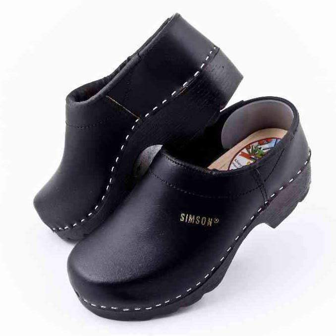 Leather Clogs Black Closed Heel, Orthepedic Footwear