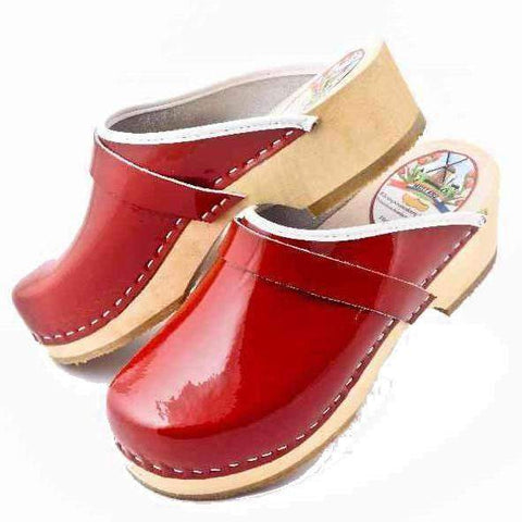 Leather Clogs Red