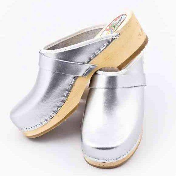 Leather Clogs Silver, Orthepedic Footwear