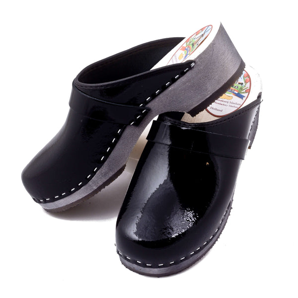 Leather Clogs Shiny Black, Orthepedic Footwear
