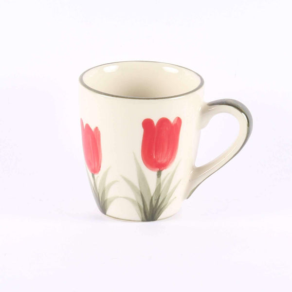 Coffee Cup, Red Tulips Handpainted, 15 cl