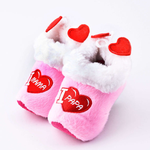 "Soft ""Wooden"" baby shoes pink / Wooden shoe slipper"