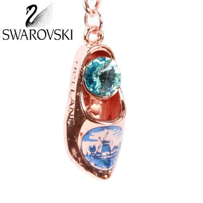 Swarovski Keychain, Bronze Wooden Shoe Light Blue Stone