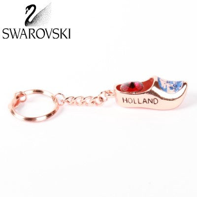 Swarovski Keychain, Bronze Wooden Shoe Red Stone