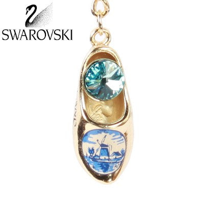 Swarovski Keychain, Gold Wooden Shoe Light Blue Stone