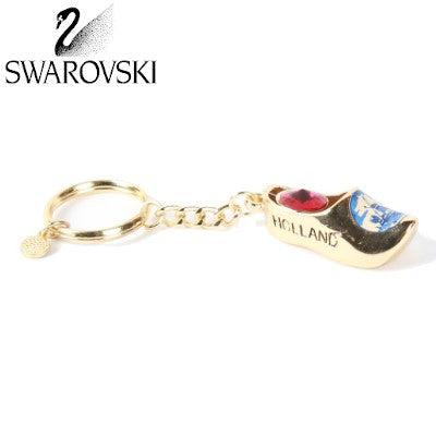 Swarovski Keychain, Gold Wooden Shoe Red Stone