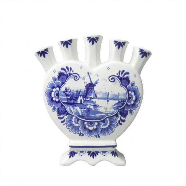Delft Blue Heartshaped Tulip Vase, Landscape and Floral Design,