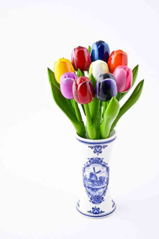 Vase with 9 Small Tulips - Woodenshoefactory Marken