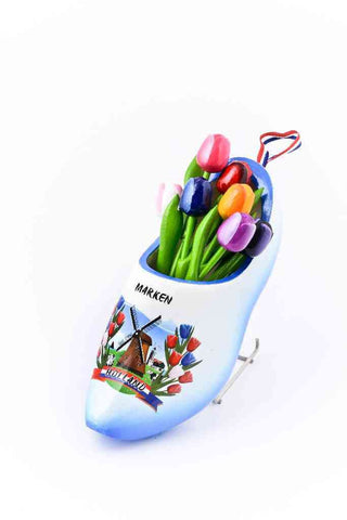Wooden Shoe with Tulips, Blue-White - Woodenshoefactory Marken