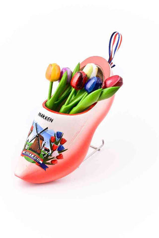 Wooden Shoe with Tulips, Red-White - Woodenshoefactory Marken