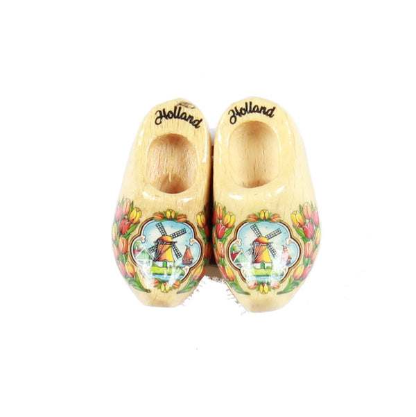 Wooden Shoes Fridge Magnet Clear Varnished