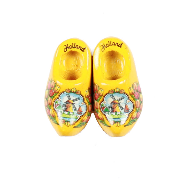 Wooden Shoes Fridge Magnet Yellow