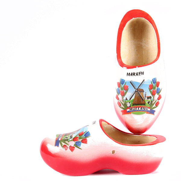 Wooden Shoes Marken Red White