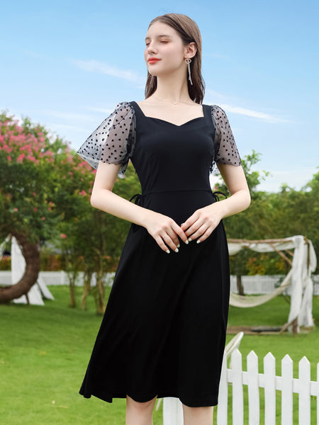Heart Tulle Sleeve Retro Little Black Dress