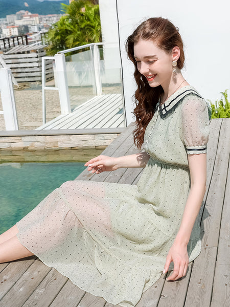 Sailor Collar Dotted Chiffon Dress