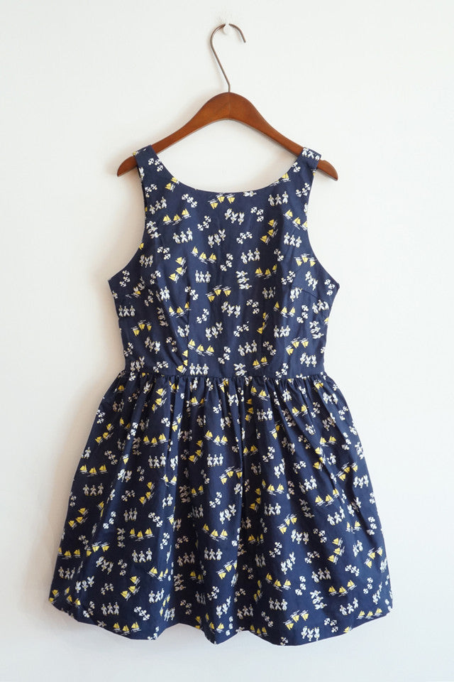 Anchor Navy Print Cute Retro Sundress