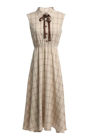 Sleeveless Check Over Knee Dress